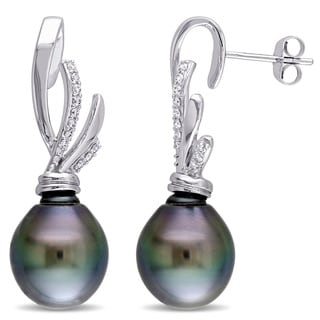 Miadora Signature Collection 14k White Gold Tahitian Black Pearl and 1/6ct TDW Diamond Earrings (G-H, SI1-SI2) (11-11.5mm)
