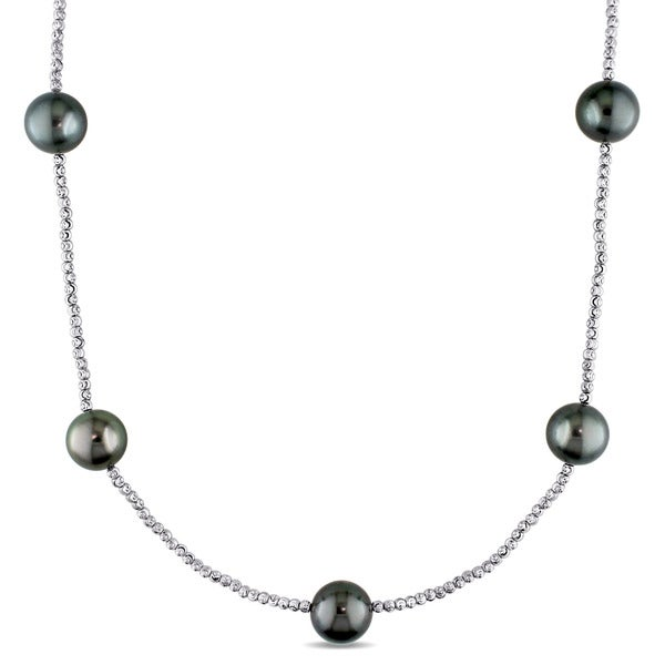 Miadora Signature Collection 18k White Gold Tahitian Black Pearl Tin Cup Necklace (11-12mm) 20152000