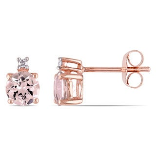 Miadora 10k Rose Gold Morganite and Diamond Accent Stud Earrings