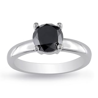 Miadora Sterling Silver 2ct TDW Black Diamond Solitaire Engagement Ring