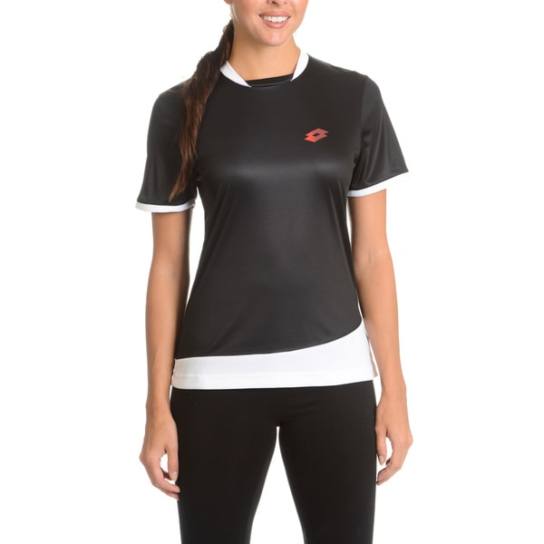 Lotto Women's Black/White Polyester Short-sleeve Training T-shirt
