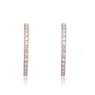 Collette Z C.Z. Sterling Silver Gold Plated Inside Out Paved Hoop Earrings