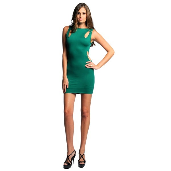 Sara Boo Green Nylon/Spandex Seamless Bodycon Dress with Cut-out Detail