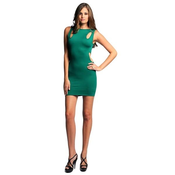 Sara Boo Green Nylon/Spandex Seamless Bodycon Dress with Cut-out Detail