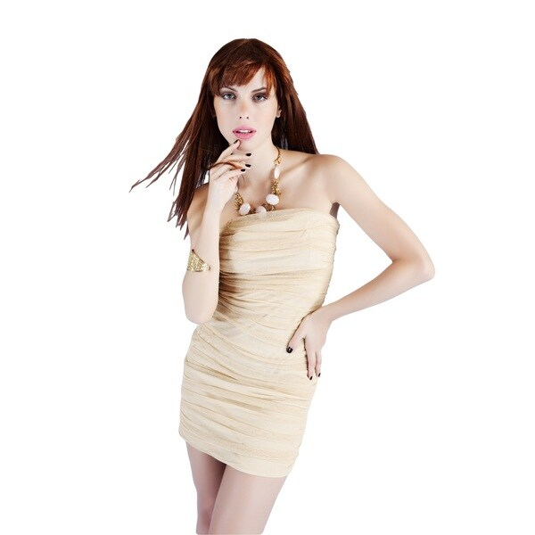 Sara Boo Women's Shimmery Ruched Bodycon Dress