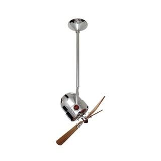 Mathews Fan Company Bianca Direcional Polished Chrome Ceiling Fan with 3 Mahogany Blades