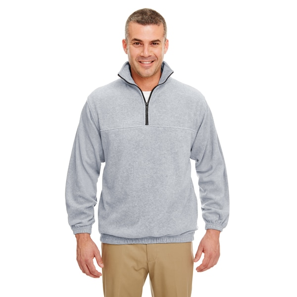 Men's Grey Iceberg Fleece 1/4-zip Big and Tall Pullover Sweater