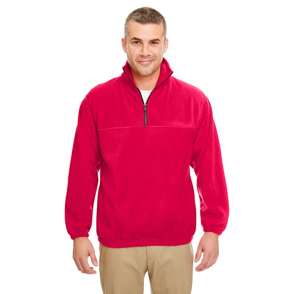 Iceberg Men's Big and Tall Red Fleece 1/4-zip Pullover Sweater