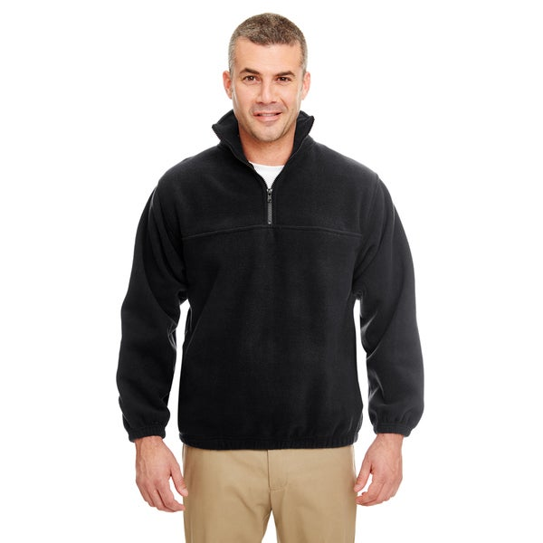 Iceberg Men's Big and Tall Black Fleece 1/4-zip Pullover Sweater