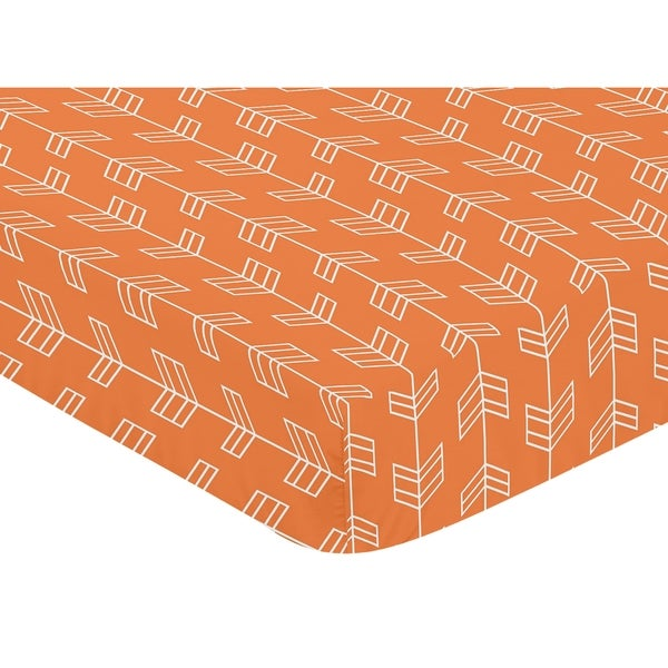 Sweet Jojo Designs Arrow Print Fitted Crib Sheet for Orange and Navy Blue Arrow Collection