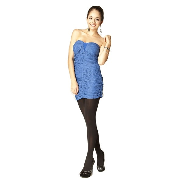 Sara Boo Blue Polyester/Spandex Ruched Bodycon Dress