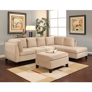 Abbyson Living Jackson Cream Fabric Sectional and Ottoman