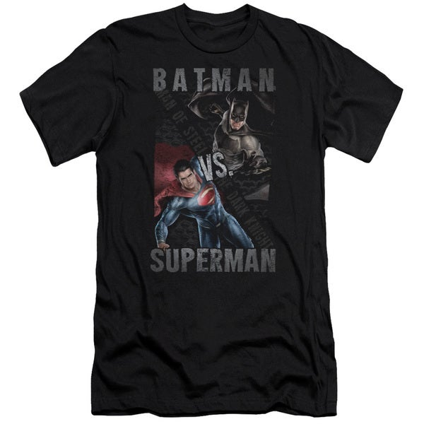 Batman Vs Superman/Hero Split Short Sleeve Adult T-Shirt 30/1 in Black