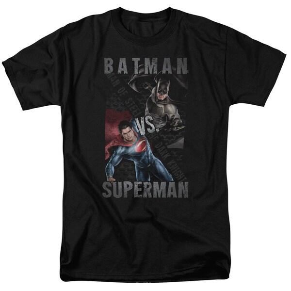 Batman Vs Superman/Hero Split Short Sleeve Adult T-Shirt 18/1 in Black