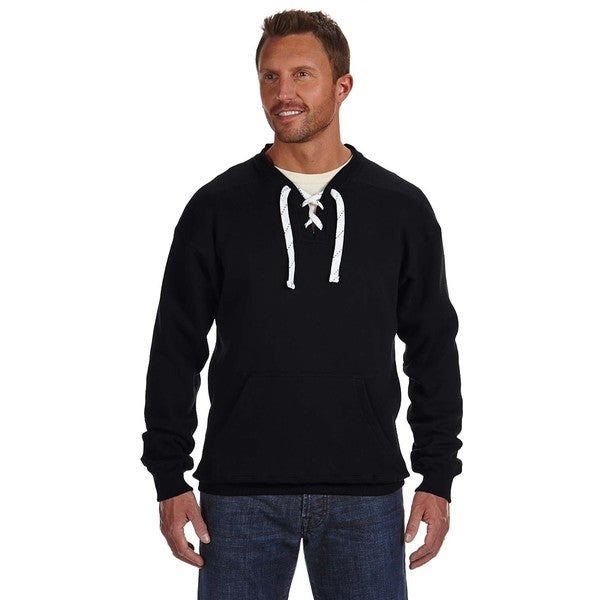 Men's Big and Tall Black Lace-up Crewneck Sweater