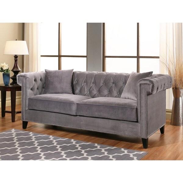 Victoria Grey Velvet Sofa