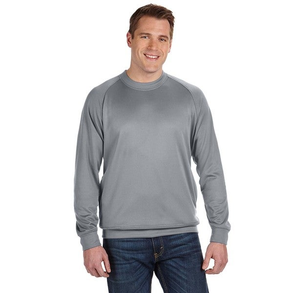 Tech Men's Grey Polyester Fleece Crew-Neck Sweater