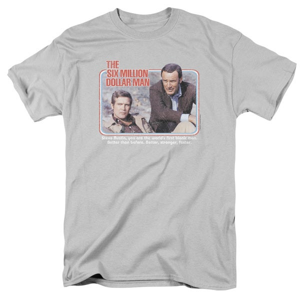 Six Million Dollar Man/The First Short Sleeve Adult T-Shirt 18/1 in Silver
