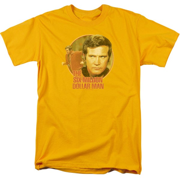 Six Million Dollar Man/Run Faster Short Sleeve Adult T-Shirt 18/1 in Gold