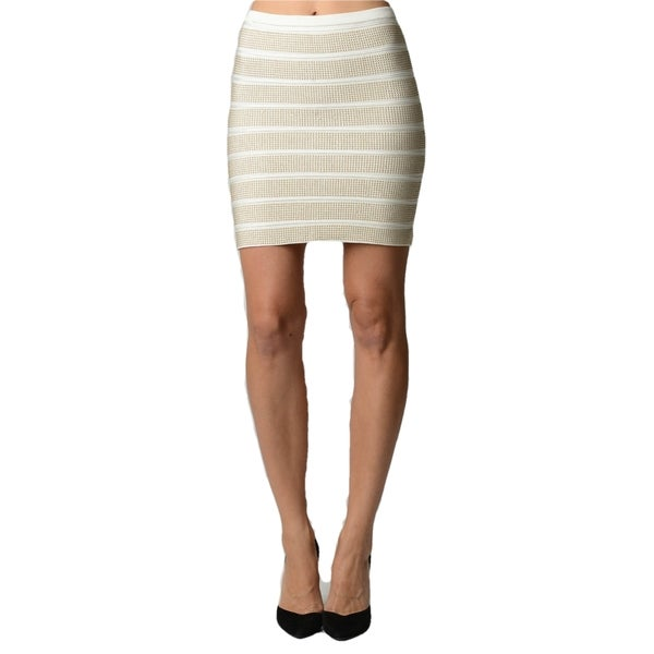 Sara Boo Black/Off-white Rayon/Spandex Striped Embellished Skirt