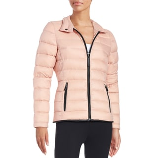 Marc New York Performance Pink Down/Leather Quilted Packable Puffer Jacket