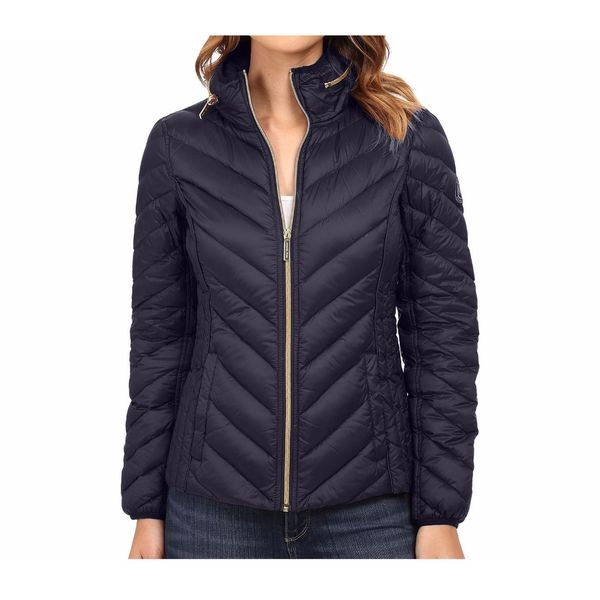 Michael Kors Navy Chevron Quilted Hooded Packable Jacket
