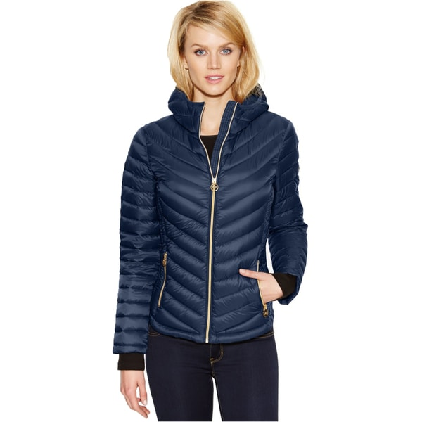 Michael Kors Indigo Blue Chevron Quilted Packable Front-zippered Jacket