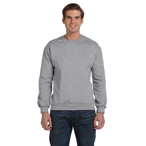 Men's Heather Grey Fleece Big and Tall Crewneck Sweater