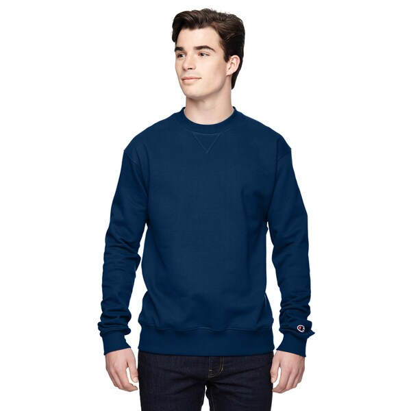 Champion Men's Big and Tall Dark Navy Cotton/Polyester V-notch Crew-neck Sport Sweater