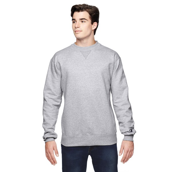 Champions Men's Big and Tall Heather Grey Polyester Crew Neck Sweatshirt