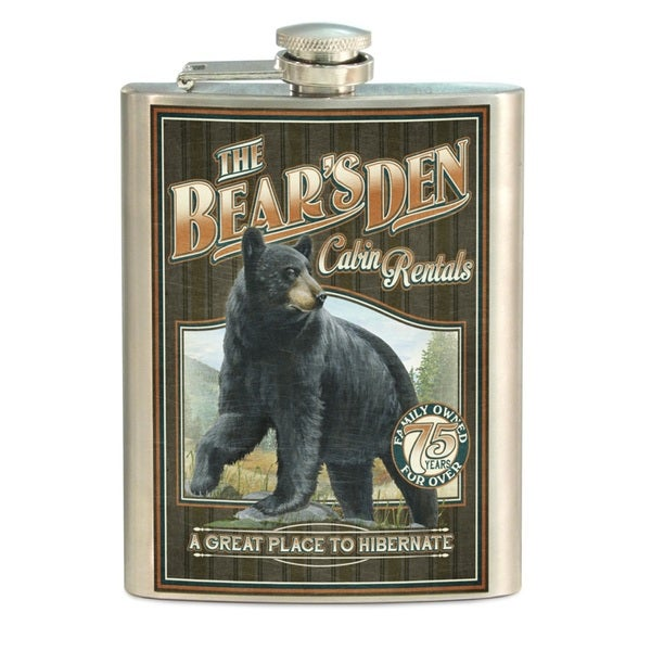 American Expedition Multicolored Stainless Steel Vintage Black Bear Flask