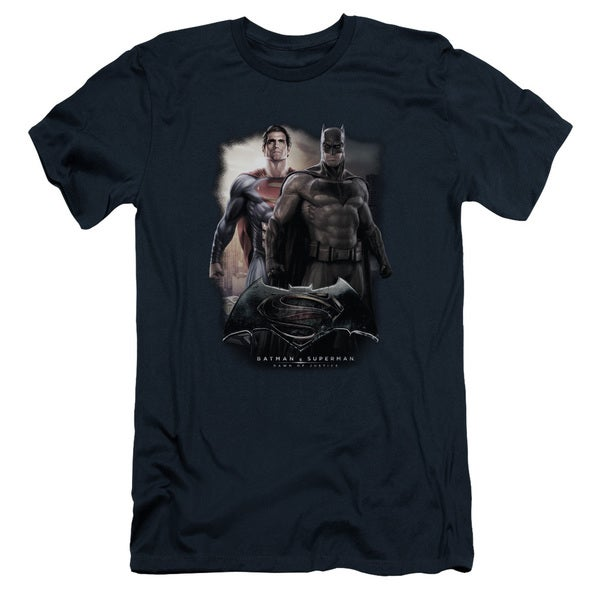 Batman Vs Superman/Dawn Short Sleeve Adult T-Shirt 30/1 in Navy