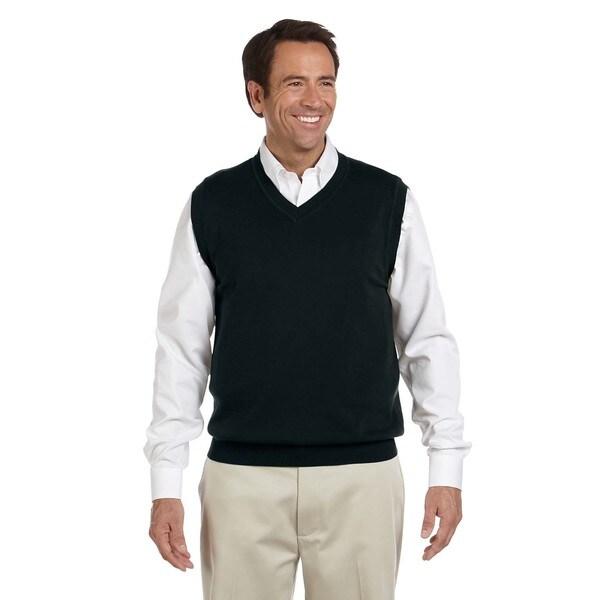 V-Neck Men's Big and Tall Black Cotton V-neck Vest