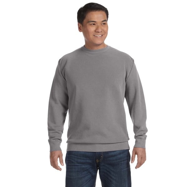 Men's Grey Garment-dyed Fleece Big and Tall Crew-neck Sweater