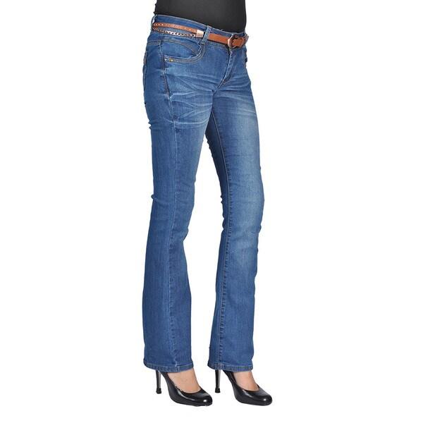 C'est Toi Womens Belted Bootcut Jeans Dark Wash