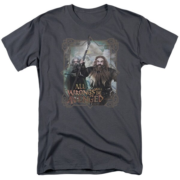The Hobbit/Wrongs Avenged Short Sleeve Adult T-Shirt 18/1 in Charcoal
