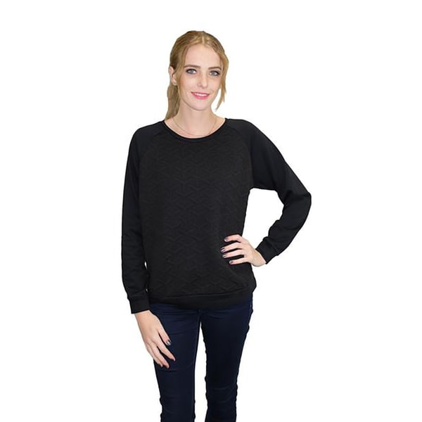 Relished Women's Black Geo Textured Raglan Sweatshirt
