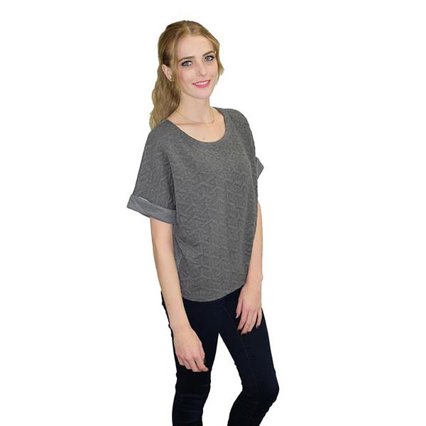 Relished Women's Heather Grey Geo Relaxed Sweater Top