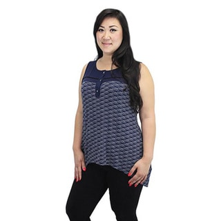 Relished Women's Navy Print Knit Trapeze Sleeveless Top