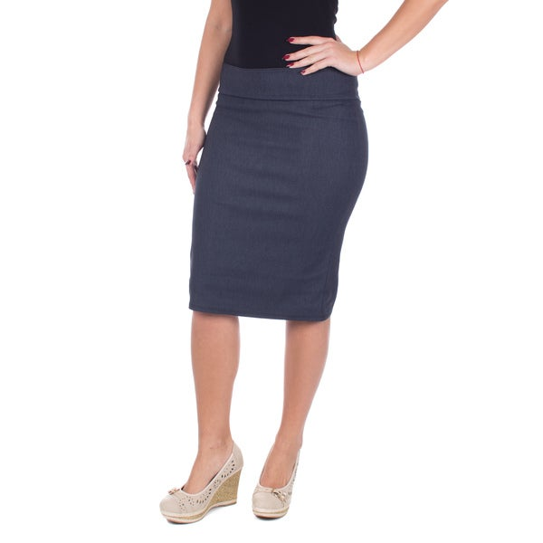 Women's Mid Length Classic Pencil Skirt (Denim Blue)