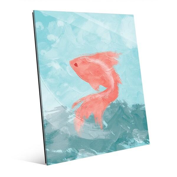 'Goldfish Blue' Glass Wall Art
