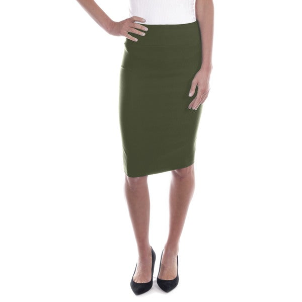Women's Mid Length Classic Pencil Skirt (Olive)