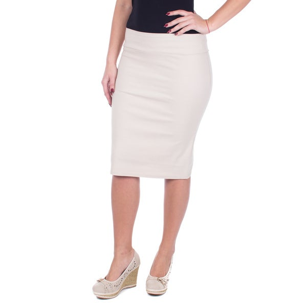 Women's Classic Khaki Mid-length Pencil Skirt