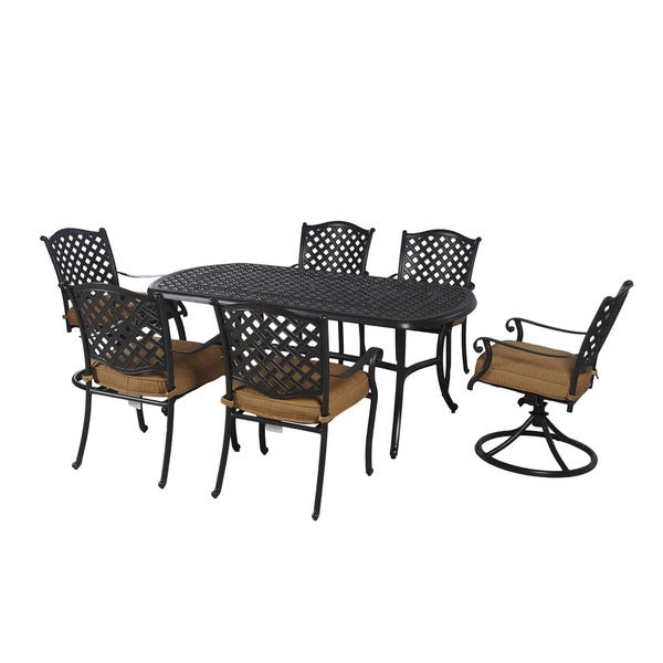 cameron 7 piece patio dining set with lazy susan seats 6 collections
