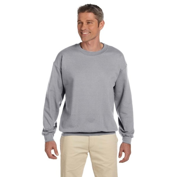 Super Sweats Men's Grey Cotton/Polyester Nublend Fleece Big and Tall Crewneck Sweater