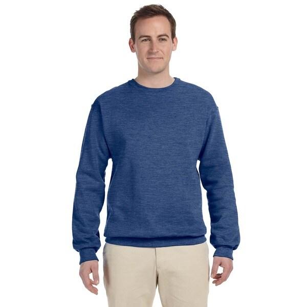 Men's Heather Blue 50/50 Nublend Fleece Big and Tall Vintage Crewneck Sweater