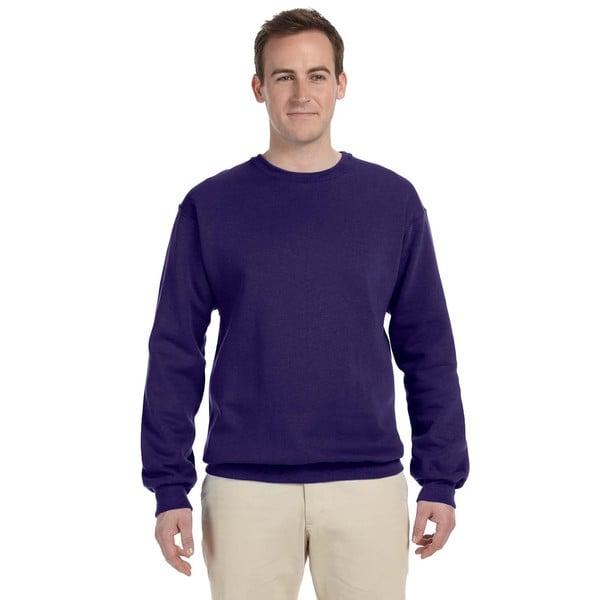 Men's 50/50 Nublend Fleece Big and Tall Deep Purple Crew-neck Sweater