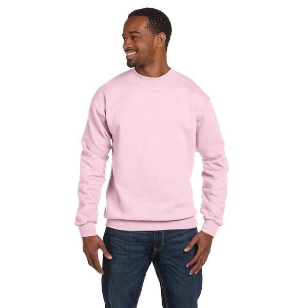 Men's Pale Pink Comfortblend Ecosmart 50/50 Fleece Big and Tall Crewneck Sweater