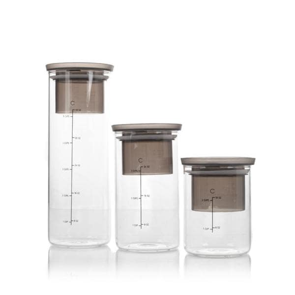 Curtis Stone Clear Glass 3-piece Measure and Store Canister Set