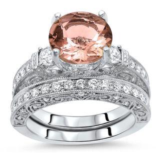Noori 2 1/2 TGW Round Morganite Diamond 3 Stone Engagement Ring Set 18k White Gold